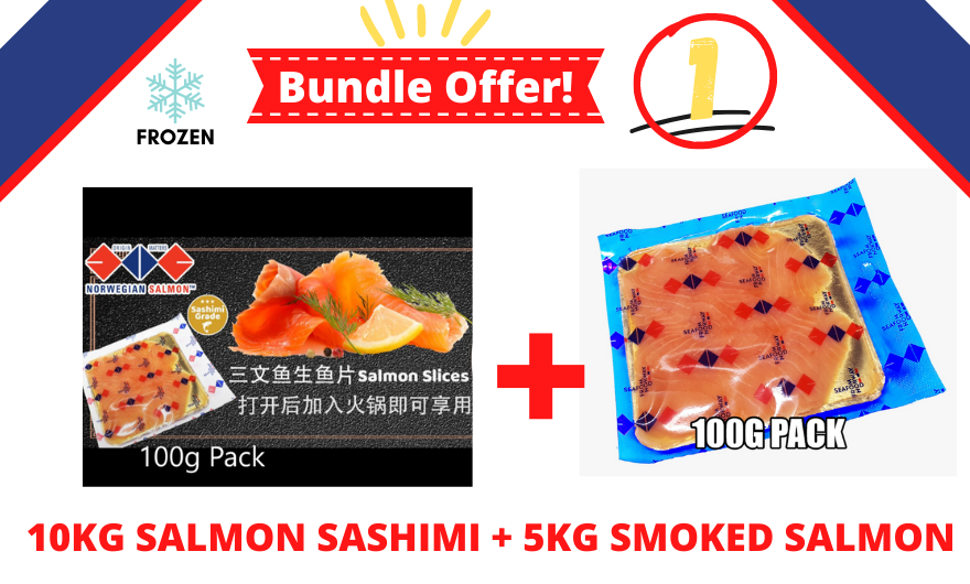FROZEN - BUNDLE OF 10KG SALMON SASHIMI + 5 KG SMOKED SALMON 100G PACK